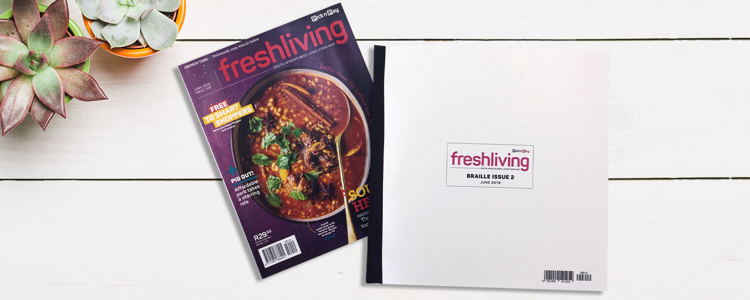 Pick n Pay Fresh Living magazine in Braille